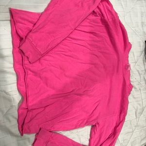 Neon pink oversized ling sleeve t-shirt